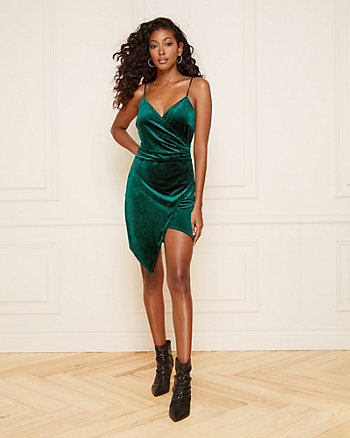 Velvet Wrap-Like V-Neck Dress