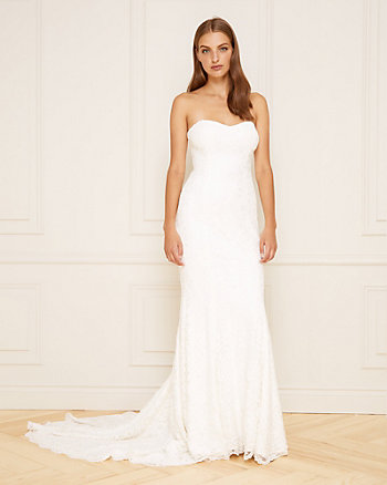 Corded Lace Strapless Gown