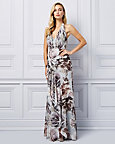 Floral Print Chiffon Ruffle Gown