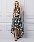 Floral Embroidered Organza High-Low Gown