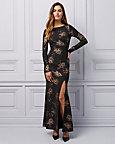Floral Print Metallic Knit V-Back Gown