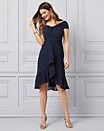 Dot Print Off-the-Shoulder Ruffle Dress