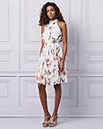 Floral Chiffon Halter Neck Ruffle Dress