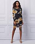 Floral Print Mesh Illusion Neckline Dress