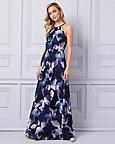 Floral Print Chiffon Halter Neck Gown
