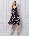 Floral Print Chiffon V-Neck Dress