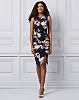 Floral Print Knit Boat Neck Dress