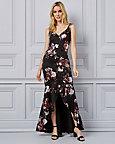 Floral Print Foil Knit V-Neck Gown