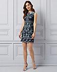 Paisley Print Knit Boat Neck Tunic Dress