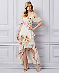 Floral Print Chiffon Ruffle High-Low Dress