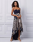 Embroidered Knit High-Low Strapless Gown