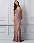 Sparkle Lace Open Back Gown