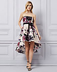 Floral Print Satin Strapless Dress