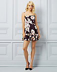 Floral Print Knit Square Neck Dress