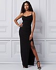 Ruched Knit Cowl Neck Gown
