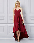 V-Neck High-Low Gown