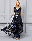 Floral Embroidered Knit V-Neck Gown