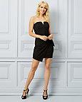 Knit Wrap-Like Strapless Dress