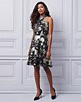 Floral Print Lace & Knit Halter Neck Dress