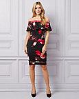 Floral Knit Crêpe Off-the-Shoulder Dress