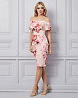Floral Print Knit Crêpe Off-The-Shoulder Dress
