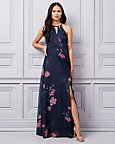 Floral Print Sheer Halter Neck Gown