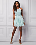 Sparkle Lace & Chiffon Ruffle Party Dress