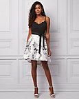 Floral Print Satin & Knit V-Neck Dress