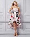 Satin Floral Print Strapless High-Low Dress