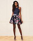 Floral Print Knit Halter Neck Party Dress