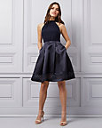 Satin Halter Neck Fit & Flare Dress