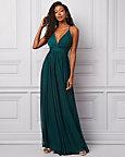 Sheer Knit Deep-V Neck Gown