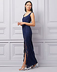 Corded Lace Scoop Neck Gown