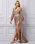 Sequin Wrap-Like V-Neck Gown
