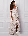 Floral Print Chiffon Off-the-Shoulder Gown