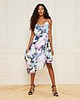 Floral Print Cowl Neck Chiffon Dress