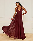 Sheer Knit Deep-V Neck Gown