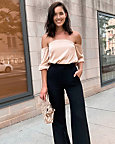 Stretch Satin Off-the-Shoulder Blouse