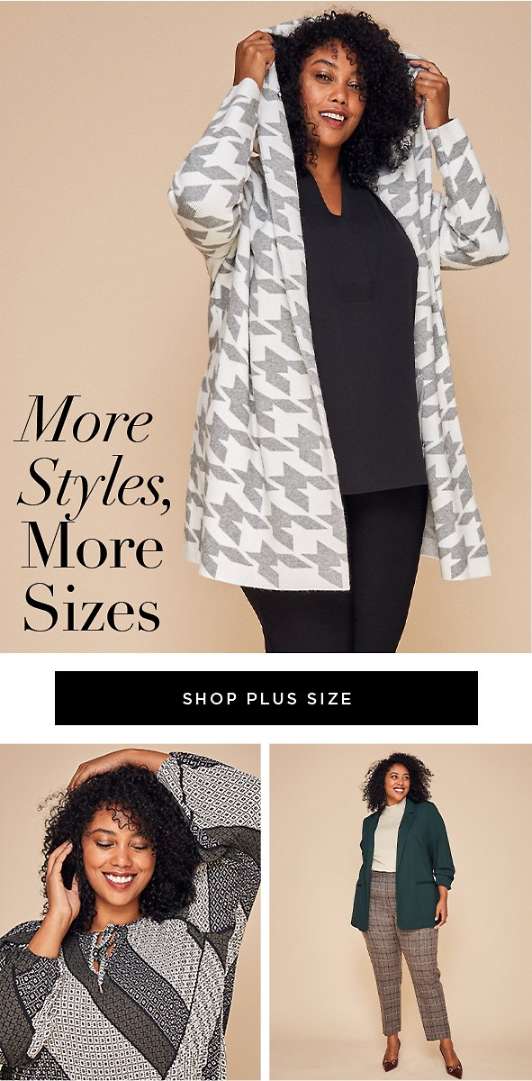 Fab new fall styles available up to size 3X and 22W.