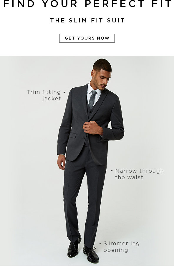 Find your perfect fit.The slim fit: Trim fitting jacket,Narrow through the waist, Slimmer leg opening