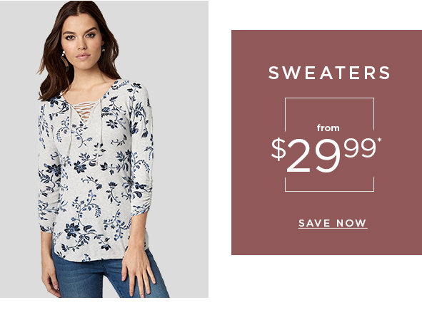 Sweaters from $29.99