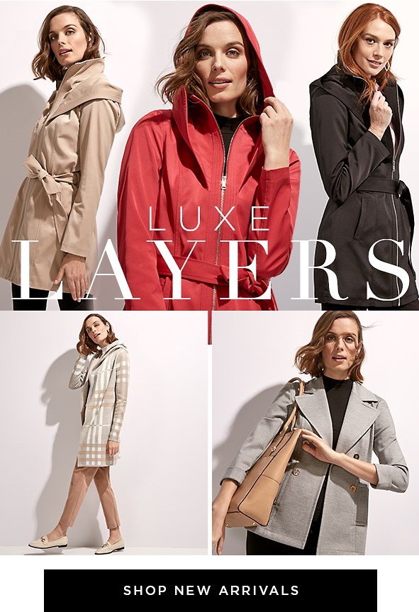 Luxe Layers. Get the newest coats, knits, blazers, and long layers to pull any look together. New Arrivals
