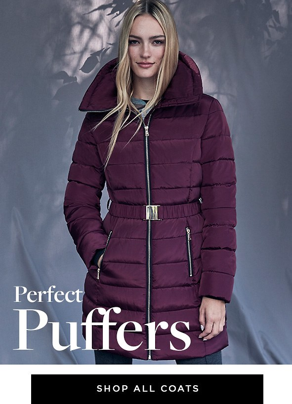 Collection available in extended sizes 00-18/XXS-XXL & select styles up to 22W/3X. Perfect Puffers. Go for feminine puffers in soft, new hues with flattering details. Shop all coats