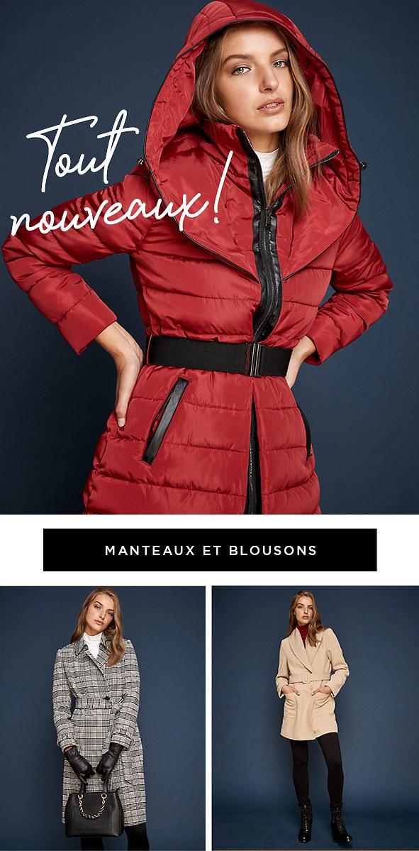 Fini les frissons… Nos manteaux et blousons tendance sont là pour vous garder au chaud.