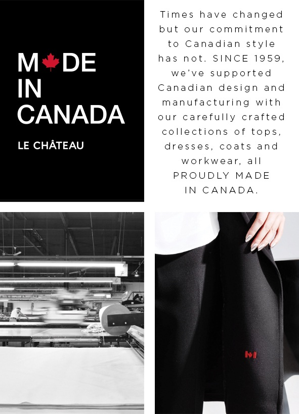 Times have changed but our commitment to Canadian style has not. Since 1959, we've supported Canadian design and manufacturing with our carefully crafted collections of tops, dresses, coats and workwear, all proudly made in Canada.