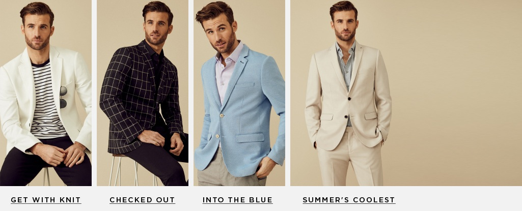 Blazer Sharp. Make bold moves in this day-to-night staple. Get With Knit > Summer's Coolest > Checked Out > Into the Blue >