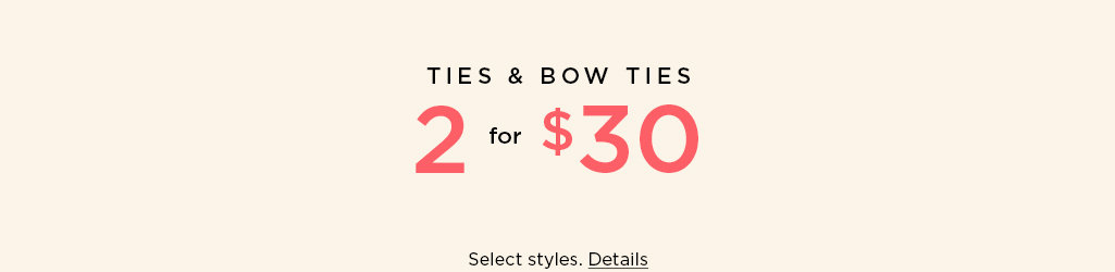 Shop Ties & Bow Ties on Sale