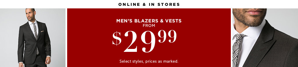 Outlet Men's Blazers and Vests