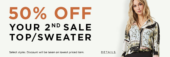 Sale. Tops & Sweaters. Buy 1, Get 1 at 50% off the already-reduced price. Details >