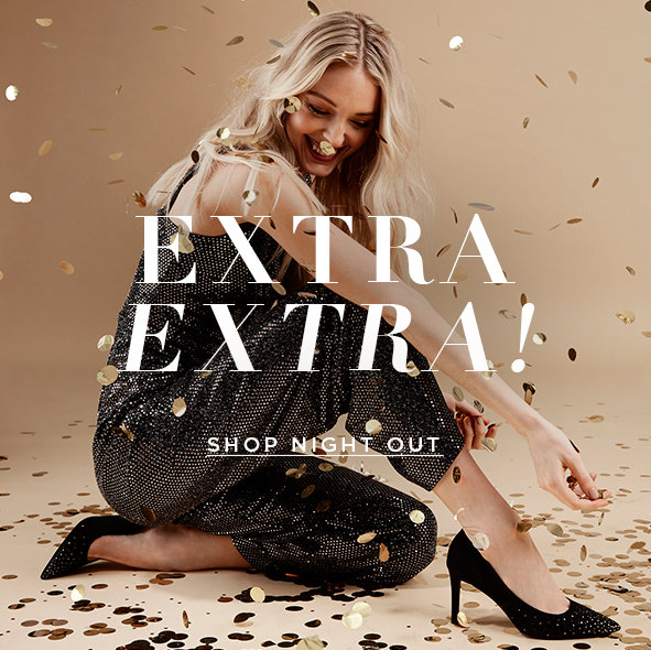 Extra Extra! Classic styles dressed up with metal heels are the headlining shoes for the holidays.  Shop night out>